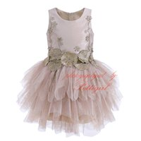 Wholesale tiered clothing resale online - Pettigirl Girl Ball Gown Dress Champagne Tulle Lotus Leaf Floral Embroidery Viintage Tiered Chiffon Children Party Clothing G DMGD908