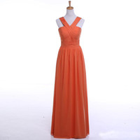 Wholesale Cheap Bridemaid Gowns Chiffon - 2017 New Bridemaid Dresses Orange A Line Floor Length Bridemaid Gowns Cheap Backless Zipper Formal Party Gowns