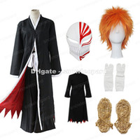 Wholesale Bleach Anime Mask - Bleach Kurosaki Ichigo Cosplay Costume Whole Set Cloak Pants Belt Straw Sandals Socks Mask Wig Mens Halloween Outfit