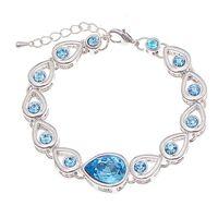 Wholesale Girls Jewlery - Forever Love Blue White Crystal Heart Charm Bracelets Bangle cuff Women Girls Fashion Jewlery Gift DROP SHIP 162316
