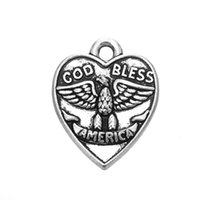 Wholesale God Hearts - Hot Sell GOD BLESS AMERICAN Antique Silver Plated Words Heart Charm Letter Fashion Pendant For DIY Necklace&Bracelet Jewelry