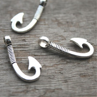 Wholesale Large Fishing Hooks - 15pcs--Fish Hook Charms,Antique Silver Steampunk Large Fish Hook Charm Pendants 13x31mm