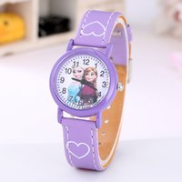 Wholesale Snow White Watches - Christmas Gift Hot Frozen watch kids Cartoon snow White Kt cat fashion Anna Elsa Jelly Candy watch Cute Lovely Cartoon Leather Quartz Watch.