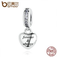 Wholesale wife charm bracelet - Wholesale-BAMOER Birthday Gift 925 Sterling Silver My Beautiful Wife, Clear CZ Beads Charms fit Bracelets Women Silver Jewelry PAS321