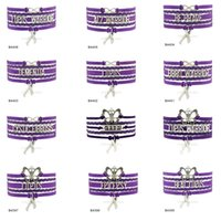 Wholesale Purple Butterfly Charm Bracelet - Custom-Infinity Love Butterfly Lupus Warrior Awareness Ribbon Charm Multilayer Wrap Bracelets Gift for Lupus Fighters Purple Suede Leather