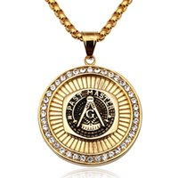 Wholesale Masonic Necklaces - Masonic Pendant Necklace Men Hip Hop Jewelry Gold Plated Chain Rock Rap Freemason Necklace Mens jewellery Cool Gift