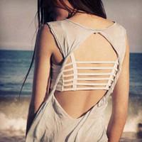 ingrosso reggiseno bianco indietro-Womens Sexy Bralette Caged Back Cut Out con spalline imbottite Bralet Vest Crop Top Nero / Bianco Spedizione gratuita