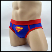 Wholesale Superman Low - Fashionable young men's underwear blue superman briefs sexy low waist full cotton fashionable male underwear student party high quality
