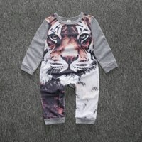 Wholesale Baby Girl Tiger - Kamimi 3D Printing Tiger Style Cotton Romper for Newborn Baby Boys girls Animal clothes Infant jumpsuit