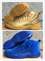Air New Retro 12 XII Premium Deep Azul Real Golden Red Suede Men's Basketball Shoes Sneakers Mulheres dan 12s sapato US 5.5-13