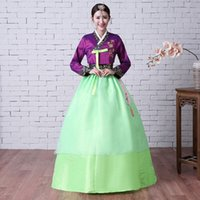 Wholesale stage dresses sale - Hot Sale 2017 Purple Jacket Green Bow Skirts Long Sleeve Traditional korean Women's Hanbok Costume Stage Dance Long Dresses