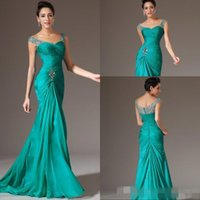 Wholesale Highest Discount Winter Dress - Best Selling Mermaid V-neck Floor Length Turquoise Chiffon Cap Sleeve Prom Dresses Beaded Pleats Discount Prom Gowns Formal Evening
