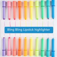 Wholesale Highlight Markers - Wholesale- 10 pcs Lot Mini Lipstick highlighter Fluorescent color marker pen set Candy gel highlight Stationery Office School supplies F607