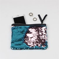 Wholesale Wholesale Leopard Clutches - split Women's Make Up Cosmetic Bag Beautician Sequins Clutch Leopard cosmetic purse make up bag Pouch toiletry glitter bag For Women YRR-09