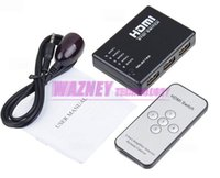 Wholesale 100pcs Mini Port to P Video HDMI Switch Switcher HDMI Splitter with IR Remote splitter box for HDTV PS3 DVD