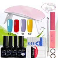 Wholesale Multi Colors Nail Art - 6W LED Lamp & 4 Colors Nail Gel polish Art Tools polish nail Set Kit building gel manicure set a seto of tools