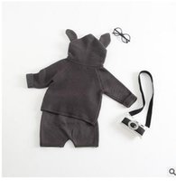 Wholesale Kids Hoodies Ears - Baby outfits boys girls cute Bunny ears long sleeve Hoodies tops+shorts 2pcs sets Infants cotton outfits Autumn Winter kids clothes G0490