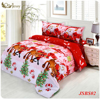 Wholesale Kids Christmas Bedding Sets - Wholesale-2016 jessy home Christmas Merry kids duvet comforter cover twin queen size 4pc Santa Claus Deer bed set bed linen bedclothes