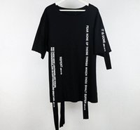 Wholesale United Ribbons - 1Vlone new original design street letter ribbon stitching dark black cut short sleeve T shirt Europe and the United States loose tide co