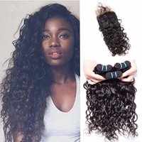 Wholesale brazillian hair natural top closure for sale - Group buy Brazillian Water Wave With Lace Closure Brazilian Hair Water Wave Top Closure X4 With Bundles Loose Curls Wet and Wavy Human Hair Weaves