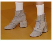 Wholesale Denim Shorts Boots - New arrival spring autumn retro round toes ankle boots luxury fashion women's denim short boots high heels martin boots
