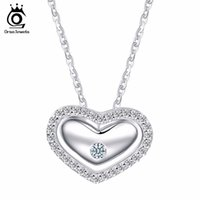 Wholesale Sterling Silver Micro Pave Necklace - 925 Sterling Silver Romantic Love Heart Pendant Necklaces Micro Paved Luxury Crystal for Women Wedding SN31