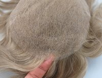Wholesale Blonde Men Wigs - Super Natural Blonde Color #17 natural hairpiece medium density all swiss lace human hair toupee for men
