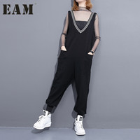 Wholesale Korean Casual Stripe Pants Women - Wholesale- [EAM] 2017 Spring Summer Fashion New Black V Neck Stripe Jumpsuits Korean Loose Pocket Long Pants Woman T86101