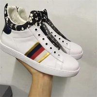 2017 New Fashion Brand White Trainers Match Couleur Black Lace Femmes Européennes en cuir véritable Chaussures Casual Slip On Fashion Sneakers C20
