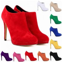 Wholesale leather work shoes ladies - New Fashion Synthetic Flock Platform High Heels Ladies Women Autumn Winter Casual Ankle Boots Shoes Us Size 4-11 D0005