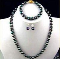 Wholesale Earrings Multi Bracelets - Free Shipping ****AAA 8mm Black Multi-Color Shell Pearl Necklace Bracelet Earring Jewelry set 18''