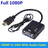 Wholesale Multimedia Notebook Computer - Male to Female HDMI to VGA Converter Adapter with Audio Cable Support 1080P HDTV Displayer for PC Computer Notebook DVD