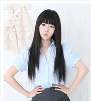 Wholesale Black Wig Straight Long Bangs - Hot Fashion Style Women Long Straight Hair Black Bang High Heat Resistant Full Wigs 26 inch Cosplay Party Wig Free Shipping