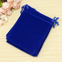 ingrosso regali blu regali borse-Sacchetti di immagazzinaggio di imballaggio economici dei monili Può Customzie Logo 9 * 12cm Royal Blue Velvet Bags sacchetti di immagazzinaggio cosmetici Candy Gift