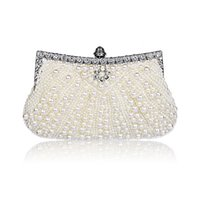 Wholesale Champagne Finger Clutch - Luxury Brand Designer Bag Pearls Embroidery Clutch Bags Women Finger Ring Evening Bags Wedding Bridal Handbags Purse Bags