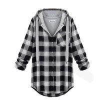 jersey de cuadros al por mayor-Al por mayor-7993 Elegante sudadera con capucha de la muchacha de las mujeres Plaid Jacket Coat Sweatshirt prendas de vestir exteriores Jumper Pullover