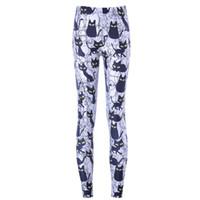 Wholesale Cute Sportswear - Wholesale- Free shipping New Hot 2015 Women Pants Womens Trousers Fashion Cute cartoon black cat Pant Capris Cute sportswear Fitness