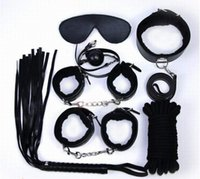 Wholesale Sex Products Blindfold - Sex Bondage 7 Pcs in one set Sexy Product Set Adult Games Toys Set Hand Cuffs Footcuff Whip Rope Blindfold Couples Erotic Toys