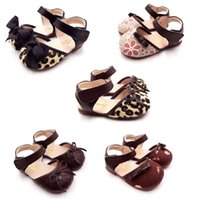 Wholesale Leopard Sandals Kids - Girls Leopard Sandals Kids Shoes 2017 Summer Fashion Flower Bow Princess Sandals Children Rome Shoes DR-101