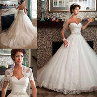 Wholesale Beaded Lace Wedding Jacket - 2018 Newest Sweetheart Neck A-line Wedding Dresses Appliques Beaded Sash With Jacket Bridal Dresses Wedding Gowns