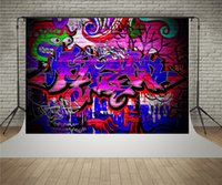 Wholesale Digital Photo Wall - SUSU 7x5ft Digital Printing Photographic Backgrounds Colorful Graffiti Brick Wall Photo Background Wrinkles Free for Children Playing Party