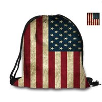 Wholesale Custom School Backpacks - Wholesale- Custom Bag 3D Printing Drawstring Bag American Flag Backpack Printed Double Sides For Woman School Girl Bag USA Flags Bags