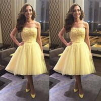 Wholesale Prom Homecoming Purple Junior Strapless - Strapless Light Yellow Junior Graduation Dresses A Line 8th Students Back to School Homecoming Gowns Short Cocktail Prom Dresses 2017