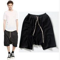 Wholesale Rock Stage - Wholesale-2016 New black shorts kanye west cool sweatpants 30-36 mens jumpsuit HIPHOP rock stage urban clothing owens dress harem