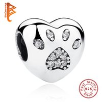 BELAWANG 925 Sterling Silver Clear Cubic Zirconia Paw Prints Beads de animais Crystal Heart Charms Fit Pandora Original Pulseira DIY Jóias