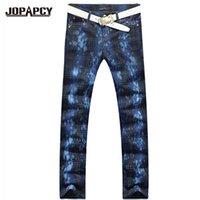 Wholesale Printed Trousers Casual - Wholesale-Fashion Printed Jeans Men Casual Plaid High Quality Straight Slim Men's Trousers Homme Mens denim Pants vaqueros MYA0172