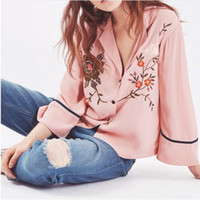 Wholesale Bird Pattern Blouse - Floral Bird pattern embroidery blouses 2017 summer fashion New Casual women shirts suit collar Three Quarter Sleeve Pajamas style Blusas new