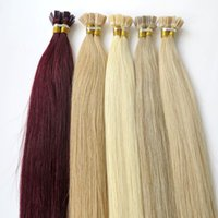 Wholesale Brazilian Cuticle Hair - Lasting 2years Brazilian Hair Keratin Flat Tip Hair Full Cuticle Remy Indan Peruvian Malaysian Pre-bonded Human Hair Extensions