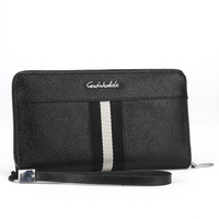 Wholesale Credit Card Holder For Male - 2017 Luxury Brand Genuine Leather Clutch Male Wallet Carteira masculina Zipper Men Wallets Stripe Black Purse For Men 816