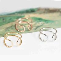 linha de cor china venda por atacado-Preço de fábrica Nova Moda Carta Em Forma de U Linha Simples Bonito Anéis Para Mulheres Menina Pode Misturar Cor EFR045